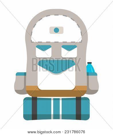 Hiking Travel Backpack Icon Illustration Isolated On White Background.