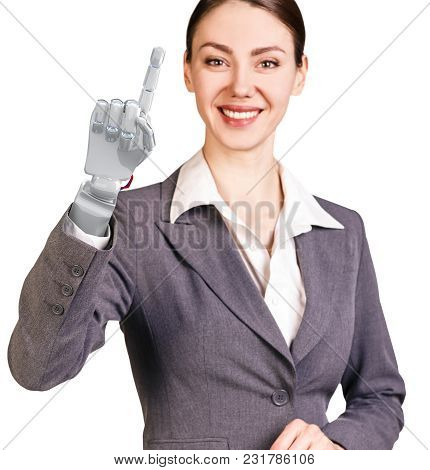 Smiling Business Woman With Robot Hand. Hand Prosthesis Concept. 3d Rendering