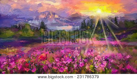 Abstract Colorful Oil Painting Purple Cosmos Flower, Rhododendron Flowers, Wildflower In Field. Viol