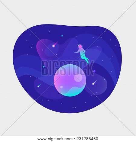 Vector Ui Illustration Of An Astronaut Floating Over Planet In An Open Space On Bright Blue Backgrou
