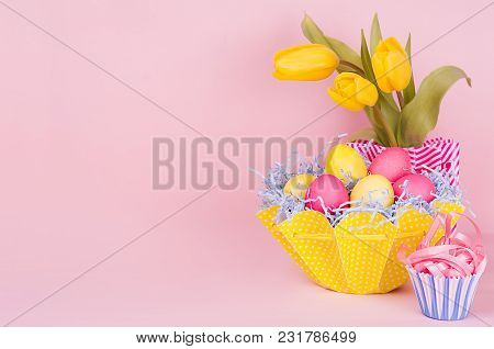 Gentle Elegant Soft Pastel Easter Decoration - Painted Eggs, Yellow Tulips, Cupcake On Pink Backgrou