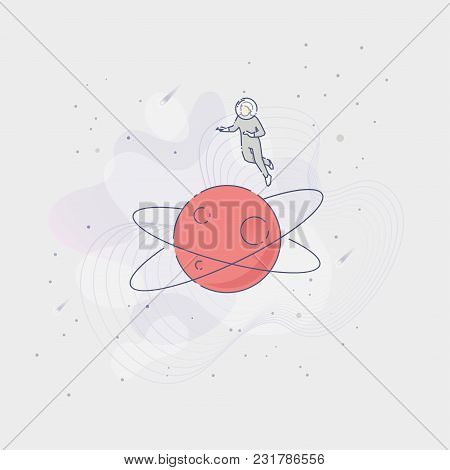 Vector Illustration Of An Astronaut Flying Over Planet In An Open Space On Grey Background.
