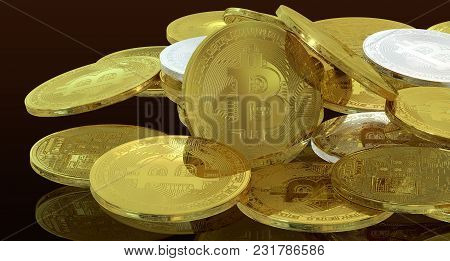 Bitcoin 3d Rendering Minimal Concept Financial Investment Profit Isolated Background  Include Clippi
