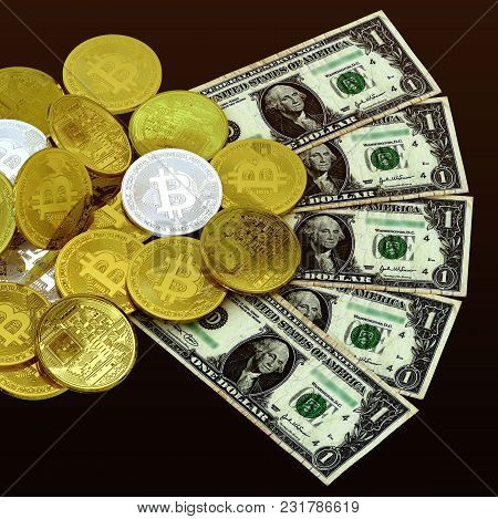 Bitcoin Silver Golden  Money 3d Rendering Investment Profit Concept Isolated Background Include Clip