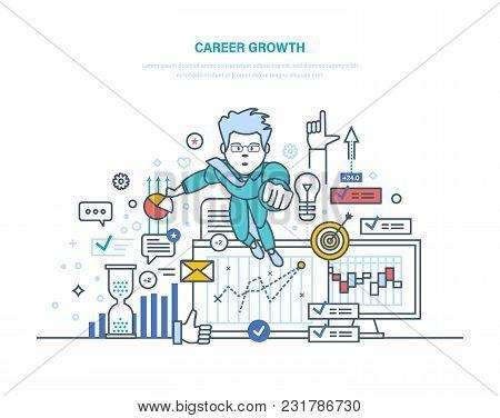 Career Growth. Businessman Going Up On Career Stairs, Personal Development, Superhero Leadership. Ac