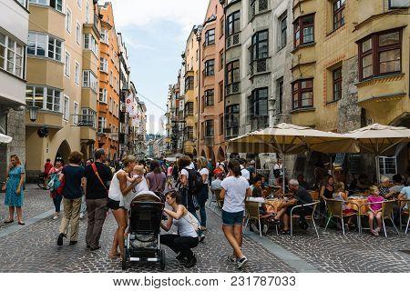 Innsbruck, Austria - August 9, 2017: Crowd Of Tourists In Christkindlmarkt Near Goldenen Dachl In He