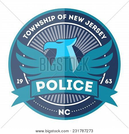 State Police Symbol Isolated On White Background Illustration. Federal Security Emblem, State Detect