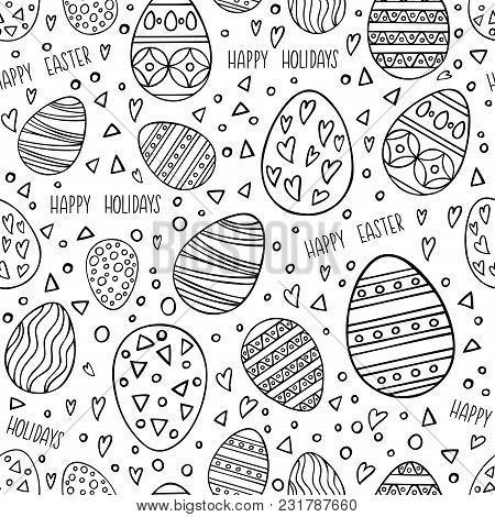 Seamless Pattern With Hand Drawn Easter Eggs. Perfect Holidays Pattern In Line Style, Can Use For Wr