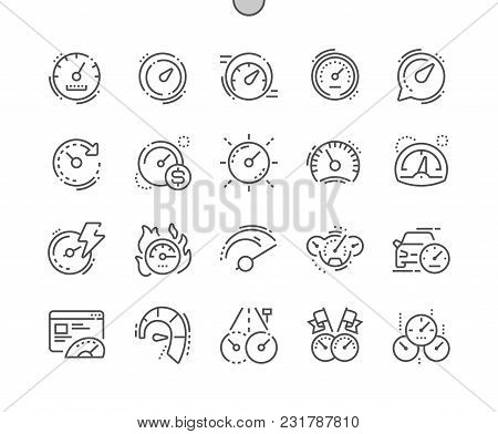 Speedometer Well-crafted Pixel Perfect Vector Thin Line Icons 30 2x Grid For Web Graphics And Apps.