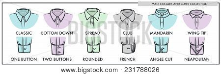 Male Collars And Cuffs Of Classic Shirts Collection. Mens Formal Clothes In All Possible Styles For