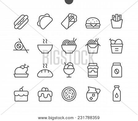 Food Ui Pixel Perfect Well-crafted Vector Thin Line Icons 48x48 Ready For 24x24 Grid For Web Graphic
