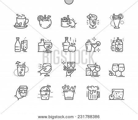 Drinks Well-crafted Pixel Perfect Vector Thin Line Icons 30 2x Grid For Web Graphics And Apps. Simpl