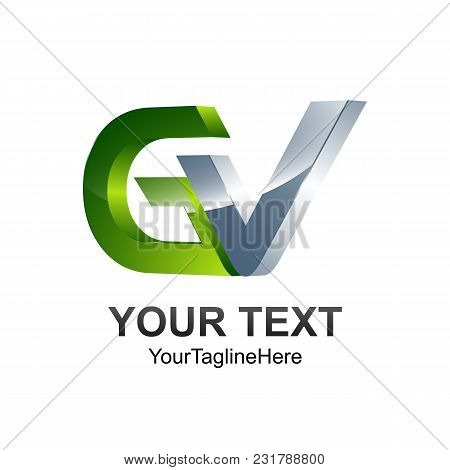 Initial Letter Gv Logo Template Colored Silver Green Design For Business And Company Identity
