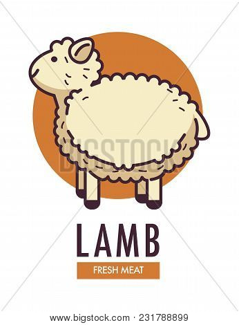Lamb Fresh Meat Promotional Emblem With Fluffy Sheep. Domestic Animal With Thick Curly Fur On Advert