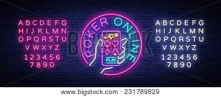 Online Poker Logo In Neon Style. Design A Smartphone Template In Your Hands. Neon Sign, Light Banner
