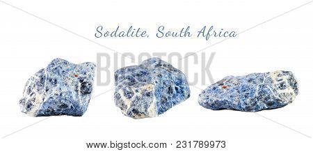 Macro Shooting Of Natural Gemstone. Raw Mineral Sodalite, South Africa. Isolated Object On A White B