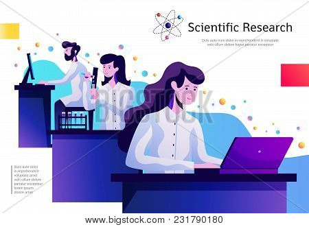 Science Abstract Colorful Composition Poster With Young Researches In Lab With Test Tubes Behind Com