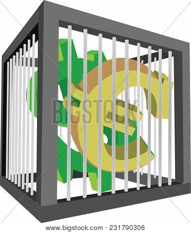 Cage With Euro And Dollar Symbols Cage With Euro And Dollar Symbols