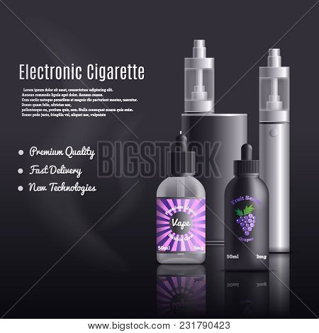Vaping Identity Realistic Composition With Editable Advertising Text And Images Of Vape Devices With