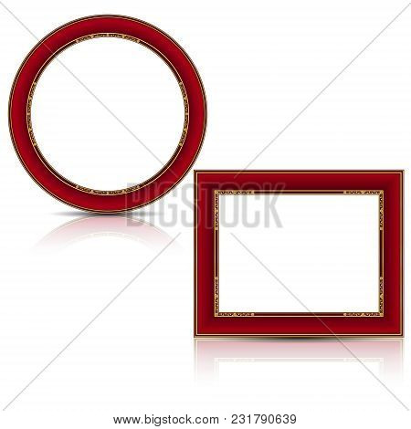 Frames Ruby And Gold Color With Shadow On White Background