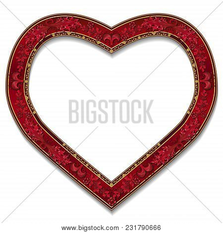 Frame In The Shape Of Heart Ruby Color On White Background