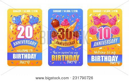 Birthday Party Anniversary Celebration 3 Festive Invitation Cards Banners Collection With Numbers Co