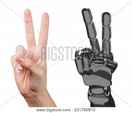 Human And Robotic Hand Together Shows Two Fingers. Cooperation Concept. 3d Rendering.