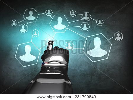 Robotic Hand In Business Suit Working With Group Of Connected Icons. Over Gray Wall Background. 3d R