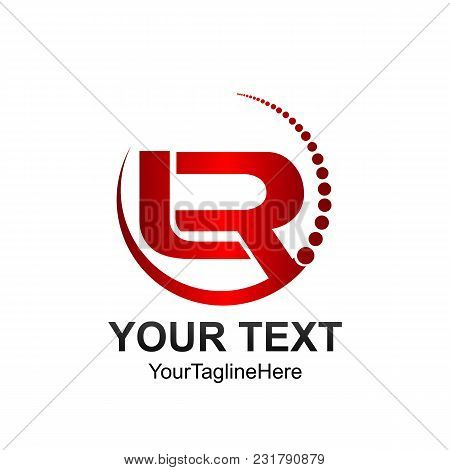 Initial Letter Lr Logo Template Colored Red Circle Swoosh Design For Business And Company Identity