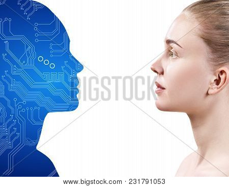 Motherboard Silhouette And Woman Looking To Each Other. Collaboration Concept. Isolated On White.