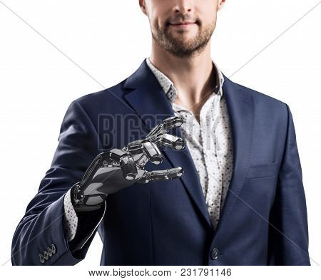 Businessman With Robotic Hand. Prosthesis Concept. Bionic Technology Concept. 3d Rendering