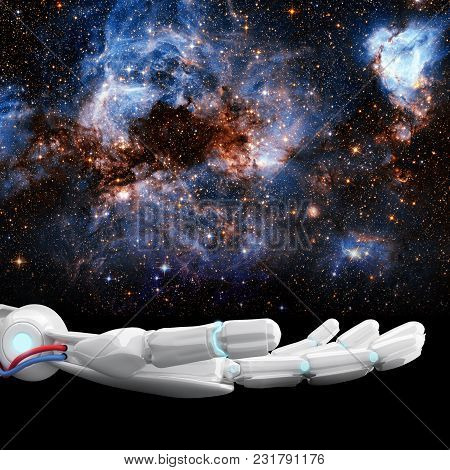White Robotic Hand Presents Galaxy Space. Future Technology Concept. 3d Rendering. Element Of This I