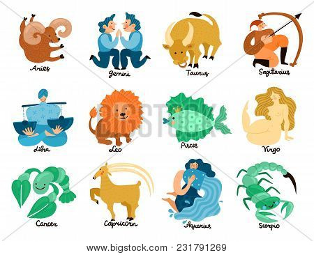 Set Of Hand Drawn Zodiac Signs Including Leo, Taurus, Pisces, Libra, Gemini And Virgo Isolated Vecto
