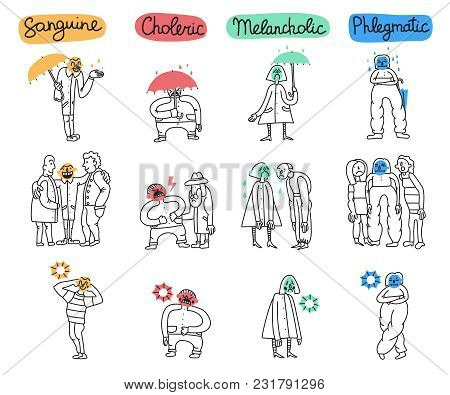 Set Of Temperament Types With Attitudes Of Persons To Life Situations Isolated Hand Drawn Vector Ill