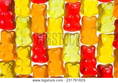 Mosaic Of Colorful Fruit Chewing Marmalade. Food.
