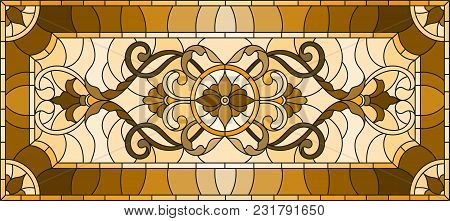 Illustration In Stained Glass Style With Abstract  Swirls And Leaves  On A Light Background,horizont