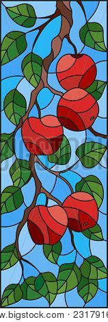 Illustration In The Style Of A Stained Glass Window With The Branches Of Apple Trees , The Fruit Bra