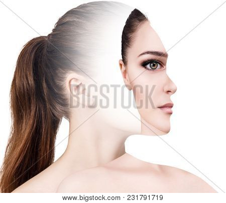 Surrealistic Portrait Front With Cut Out Profile Of Woman. Isolated On White Background.