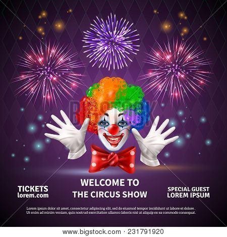 Fireworks Composition With Circus Show Announcement Editable Text And Images Of Clown Face Hands And