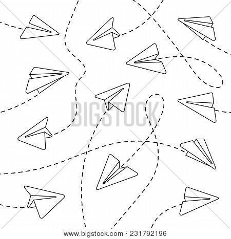 Paper Airplanes. Paper Airplanes With Dashed Lines. Paper Airplanes With Dashed Lines On A White Bac