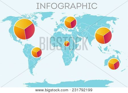 Infographic. Business Infographics. Vector Map Of The World With Elements Of Infographics. Vector Ma