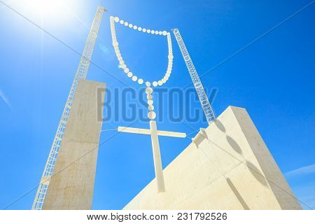 Giant Rosary In The Blue Sky At Sanctuary Of Our Lady Of Fatima, Portugal, One Of The Most Important