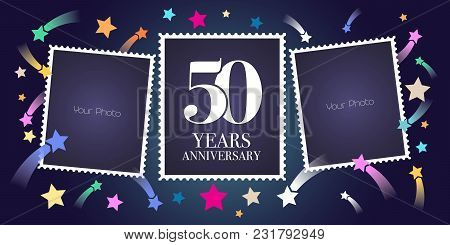 50 Years Anniversary Vector Emblem, Logo. Template Design, Greeting Card With Photo Frame Collage On
