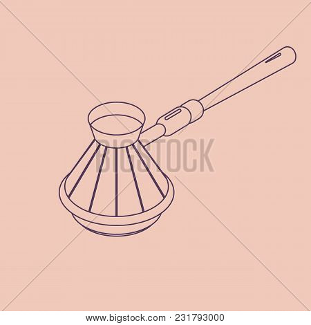 Vector Illustration Thin Line Sketch With 3d Coffee Cezve. Coffee Maker In Isometric Flat Style On B