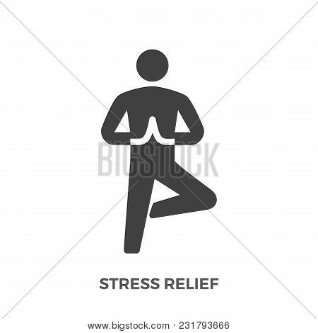 Stress Relief Glyph Vector Icon Isolated On The White Background.