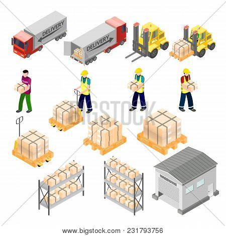 Isometric Warehouse Logistics Elements. Cargo And Delivery Infographic. Forklift And Workers, Truck