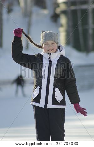 Portrait Teenage Girl With Pigtailed Wearing Winter Clothes In Winter Outside, Youth Pastime And Res