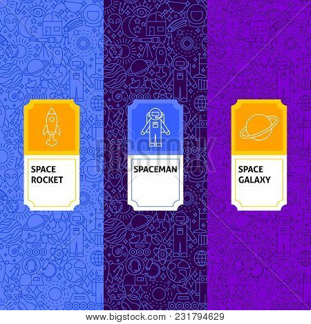 Line Space Package Labels. Vector Illustration. Template For Packaging Design.