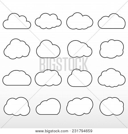 Set Cloud Lines. Cloud Storage Over The Internet, And Weather Application. Vector Icon.