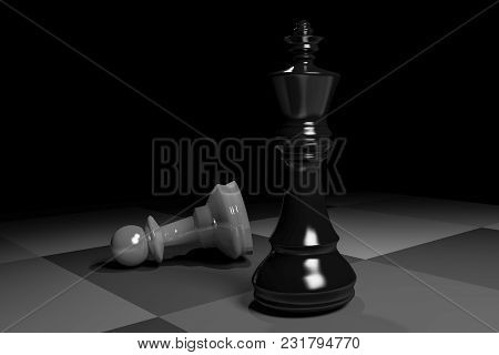 Defeat Your Competitor.winner Concept With Chess.3d Rendering.